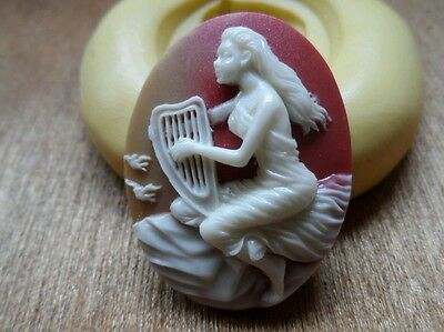 Gothic Lady and Harp cameo silicone push mold mould  resin sugar craft clay
