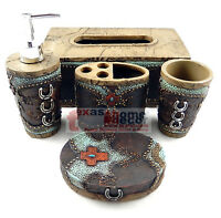 Western Horseshoes Red Cross Turquoise Bathroom Accessory Set 5 Pieces Rustic