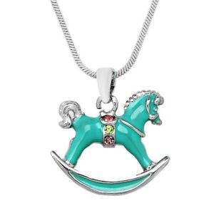 3D ROCKING HORSE Childrens Kids 14k GOLD EP Charm Pendant