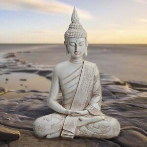 Deko-Thai-Buddha-Figur-sitzend-Hoehe-40-cm-in-weiss-Feng-Shui-Statue