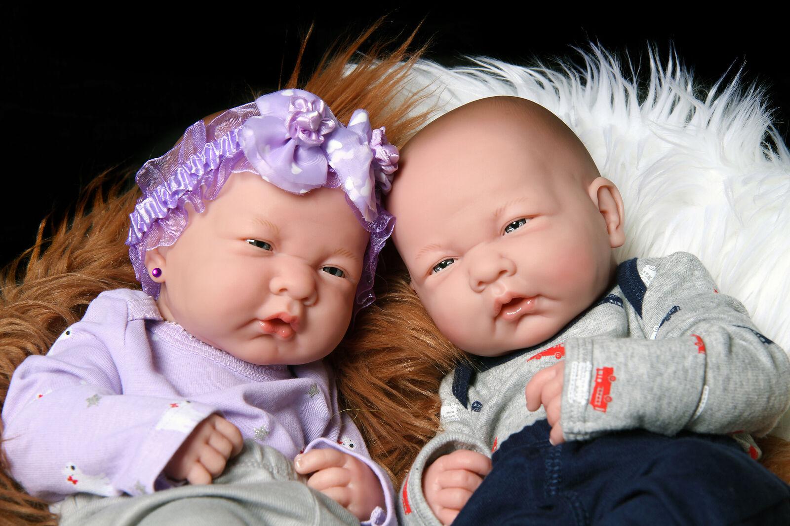 "15""Twins Reborn Baby Doll Realistic Vinyl Silicone Handmade Girl+Boy+Accessories"