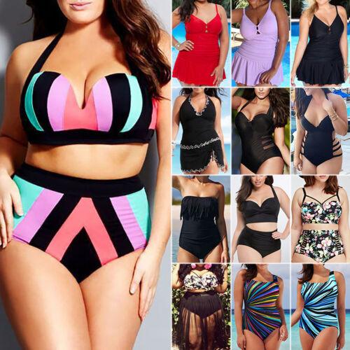 Plus Size Women/'s Push Up Monokini High Waist Bikini Swimwear Swimsuit Beachwear