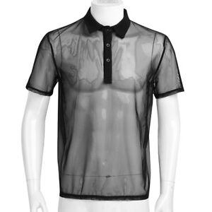 6213ab034c4c1b Men s Sexy Mesh Sheer Tank Top Short Sleeves Undershirt Turn-down ...