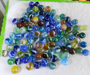 11057m-Vintage-Group-or-Bulk-Lot-of-100-Nicer-Peltier-Glass-Marbles-55-to-64