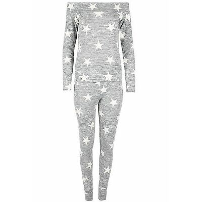Ladies Womens Off Shoulder Bardot Stars Knit Marl Loungewear Jogsuit Tracksuit