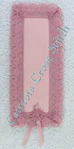 Bookmark to Cross Stitch Ash Rose Pink 18 Count Aida With Lace OOP