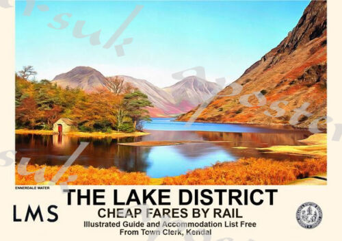 Vintage Style Railway Poster Lake District Ennerdale Water A4//A3//A2 Print