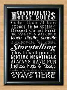 Details about Grandparents House Rules Typography Art A4 Print Poster Photo  Wall Decor Funny 2