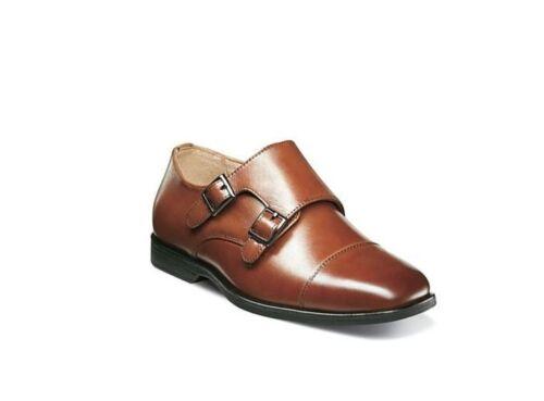 Florsheim Boys/' Reveal Double Monk Strap Cognac Leather Dress Shoes 16596-221