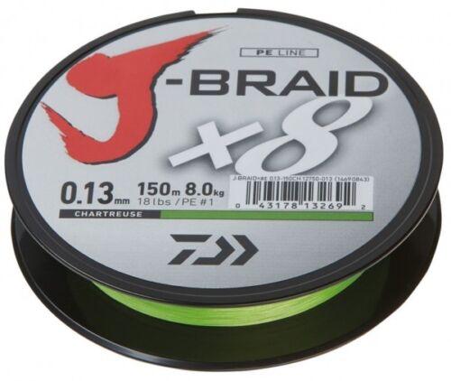 Daiwa J 0,09€//1m Braid X8 fach geflochten Schnur chartreuse 0,20 mm  13 kg