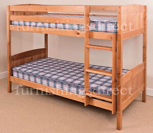 Solid Antique Pine Bunk Bed Splits Into 2 X Single Beds Mattress