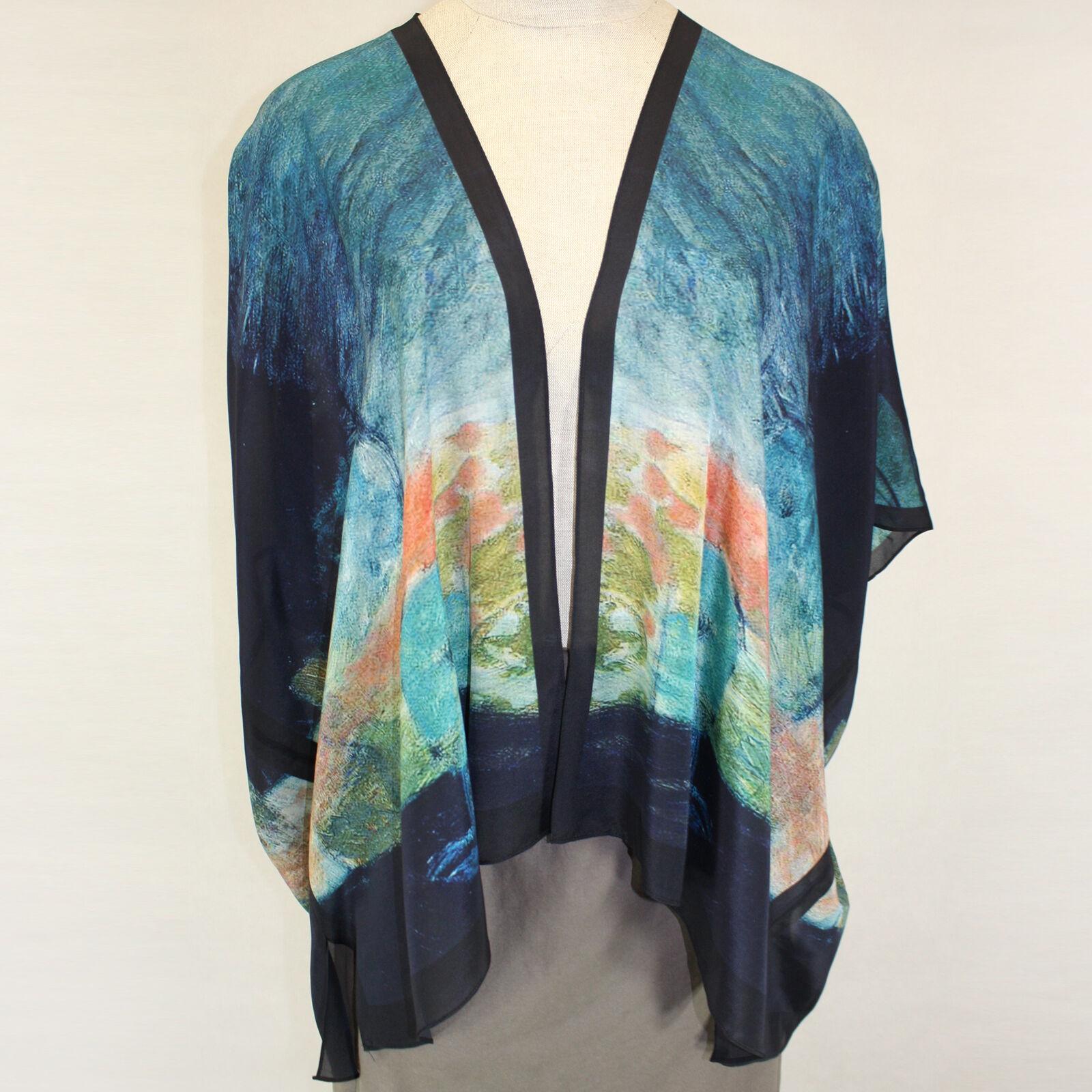 NEW NWT Cocoon House Aurora Art to Wear 100% Silk Kimono Blouse Large XL (1X 2X)
