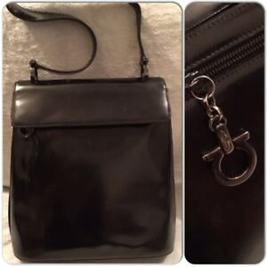 d23e9bc27ea7 Image is loading Vintage-Salvatore-Ferragamo-Black-Patent-Leather -Black-Hardware-