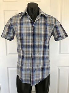 Ben-Sherman-Mens-Blue-Grey-Check-Short-Sleeve-Casual-Shirt-Size-S-Button-Up
