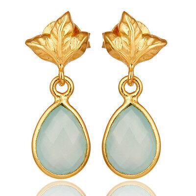 18K Gold Plated Sterling Silver Aqua Chalcedony Dangle Drop Stud Earring