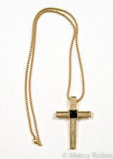 "Clergy Pectoral Cross w/ 36""Chain (N74-C442 G-B), Black Stone, Christian"