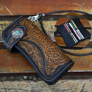 HOT-Men-Handmade-Vintage-Biker-Punk-Carved-Long-Leather-Wallet-with-Chain