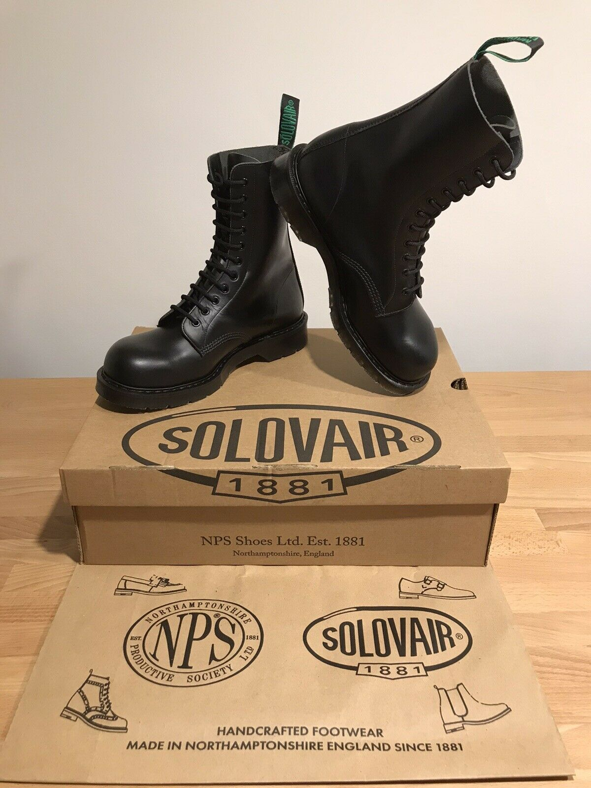NPS SOLOVAIR Black 11 Eye Steel Toe Derby Boot! SizeUK9.5! New!Only !
