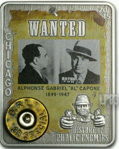2015 1 Oz Silver Al CAPONE Coin,Embed 38 Special W//Real Gun Capsule.