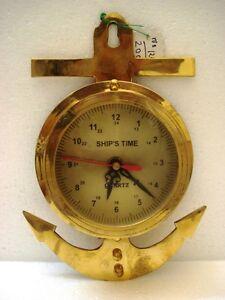 ANCHOR Style Marine Ship's BRASS WALL Clock - RARE (1246)