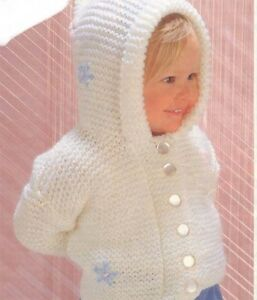 Girls Knitted Hooded Jacket Knitting Pattern Chunky Knit Garter