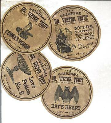 12 Vintage look LABELS~Halloween Apothecary Original ~primitive labels~Circle