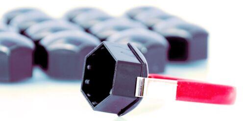 Pack De 20 Negro Rueda de la aleación Pernos Lugs NUTS Tapas Cubre Hexagonal de 17mm Para Vw