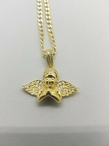 Details about  /14k Gold Over 925 Sterling Silver Made In Italy Angel Pendant With Chain