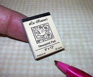 Miniature-La-Rocco-NEWSPRINT-Pad-3-4-034-x-1-034-SMALL-DOLLHOUSE-Art-Studio-1-12