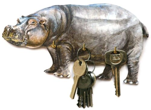 Hippo Design Wall Hanging Wooden Key Rack 3 Hooks  Made in UK Ideal Gift Present