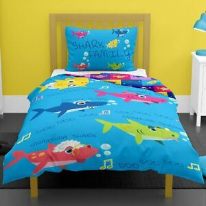 Shark-Family-Simple-Housse-de-Couette-et-Taie-D-039-Oreiller-Set-Enfants-Colore