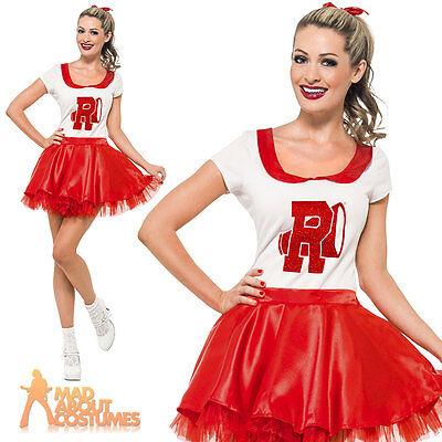 Grease Sandy Cheerleader Costume Adult Womens School Prom Ladies Fancy Dress New