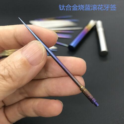 2×Titanium Alloy Waterproof Toothpick Fruit Pick Stick Survival Hygiene EDC Tool