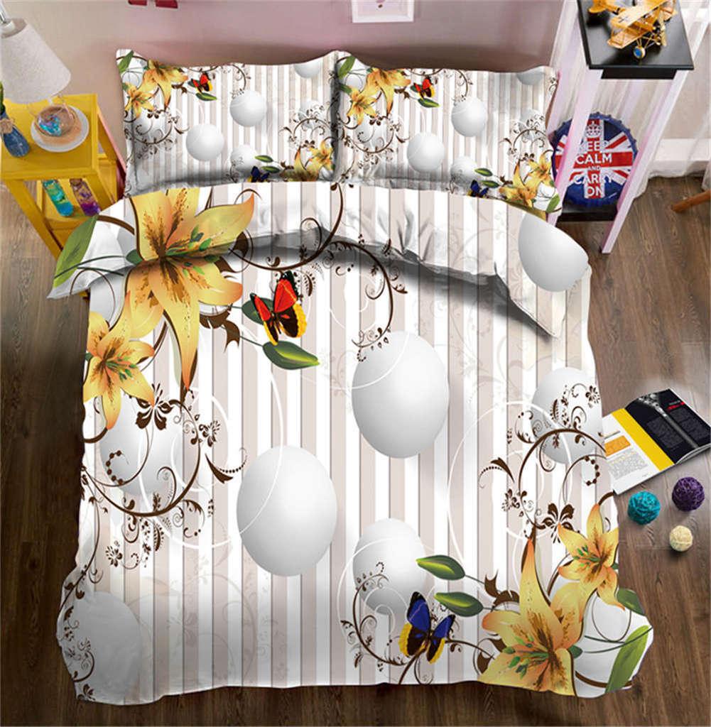 Cushaw Flower 3D Printing Duvet Quilt Doona Covers Pillow Case Bedding Sets