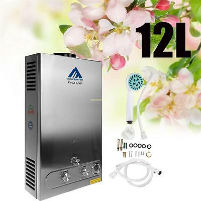 12L GAS LPG Hot Water Heater Propane Tankless Instant Boiler Stainless Steel CE