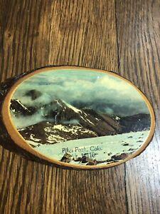Vintage PIKE'S PEAK Wood Slice Plaque 6.5 x 3.75 Souvenir COLORADO