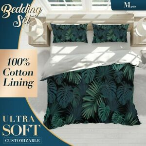 Banana Leaves Floral Green Quilt Cover King Bed Single Double Queen Size