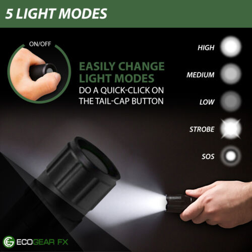 LED Tactical Flashlight with Holster Charger and Batteries Bonus Mini Flashlight