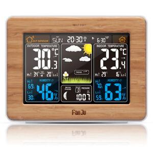 Fanju-FJ3365-Wetterstation-Prognose-Temperatur-Luftfeuchtigkeit-Barometer-Wecker