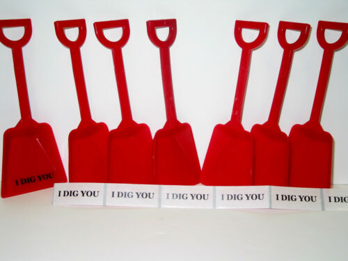 "24  Red Toy Beach Shoves /& /""I DIG YOU/"" Stickers Mfg USA Lead Free"