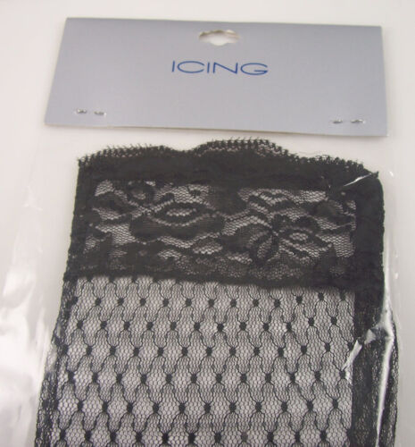 Black lace gloves party mardi gras costume long Icing