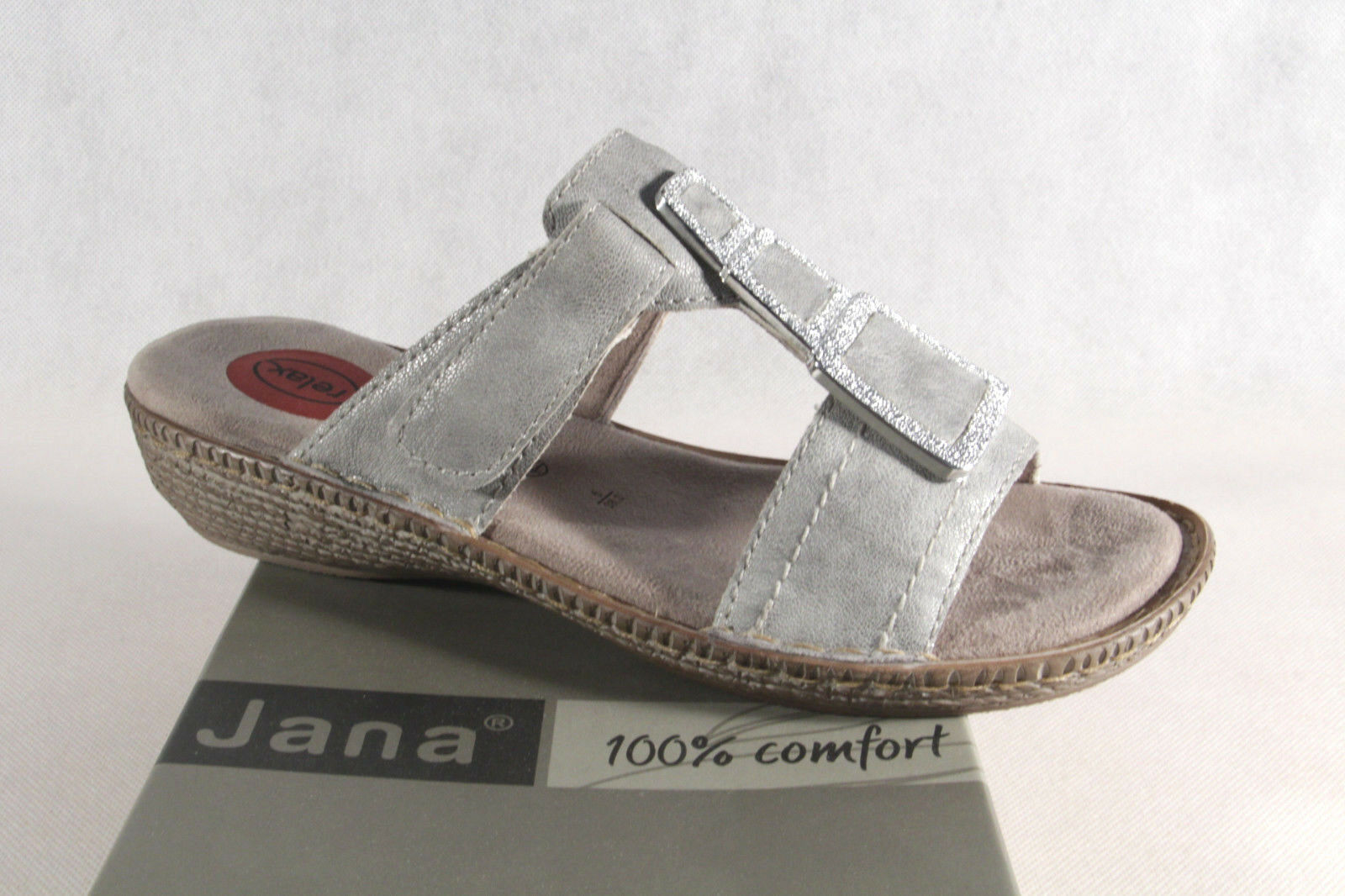 Jana ciabatte donna sandali grigio argento NUOVO