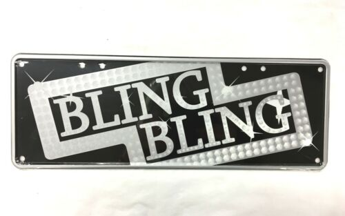 BLING BLING METAL TIN NOVELTY NUMBER LICENSE PLATE WALL SIGN GIFT