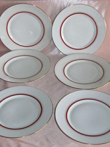 Serie von 6 Teller Flach aus Porzellan Limoges Dekor Rand Rot und Gold