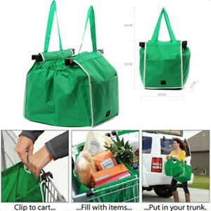 Foldable Strong Reusable Supermarket Shopping Trolley Big Bags Large Grab Bag 635131389375