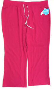 Urbane-Performance-Women-039-s-Wide-Waistband-Convertible-Scrub-Pants-Fuchsia-3XL