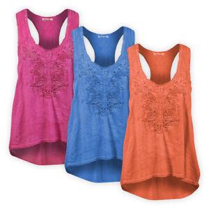Womens Ladies Flare Shape Racer Back Vest Top Crochet Sleeveless Casual T-Shirt