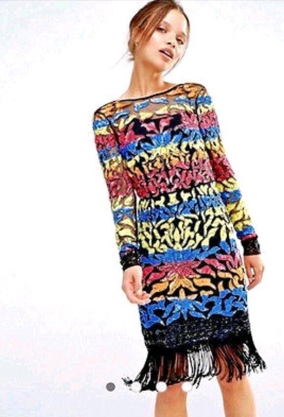 6a53ce413175 ASOS ASOS ASOS Maya Manica Lunga Midi Abito Di Paillettes Multicolore Con  Orlo Nappa EU 36 1bb90b