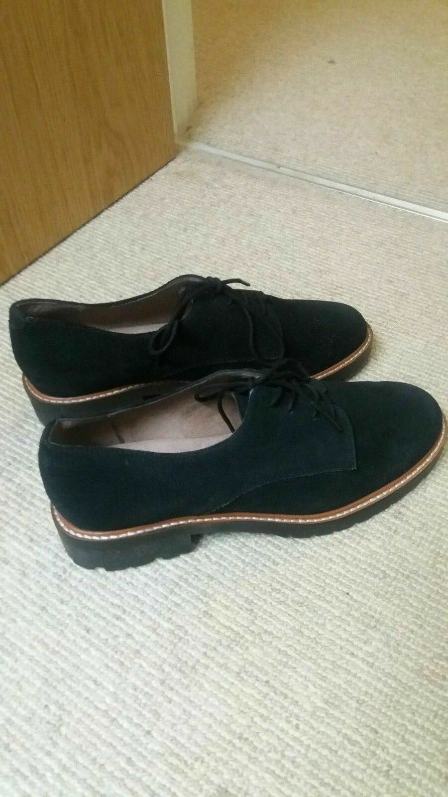 OFFICE BLACK KENNEDY SUEDE CLEATED SOLE LACE UP Schuhe SIZE UK 6 EUR 39