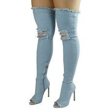05d84404272 item 5 Women High Thigh Over Knee Dark Blue Stretch Denim Open Toe Block Heel  Boots -Women High Thigh Over Knee Dark Blue Stretch Denim Open Toe Block  Heel ...